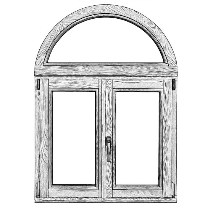 Окно арочное штульповое 88 серия, дуб, 4-16-4-16-4Е (al)
