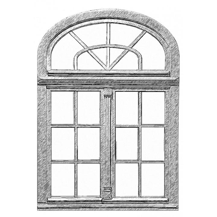 Вікно арочне глухе 88 серія, сосна, 4-16-4-16-4Е (al)