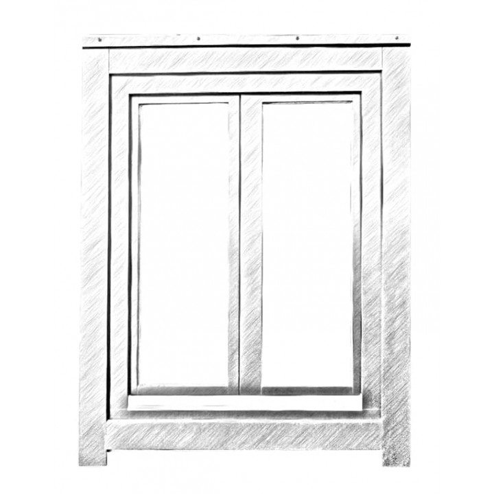 Окно глухое двустворчатое 88 серия, дуб, 4-16-4-16-4Е (al)