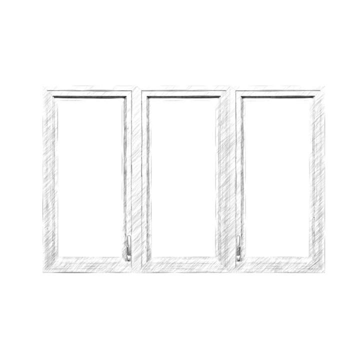 Окно глухое трехстворчатое 88 серия, дуб, 4-16-4-16-4Е (al)