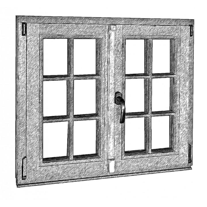 Вікно штульпове пряме 88 серія, сосна, 4-16-4-16-4Е (al)