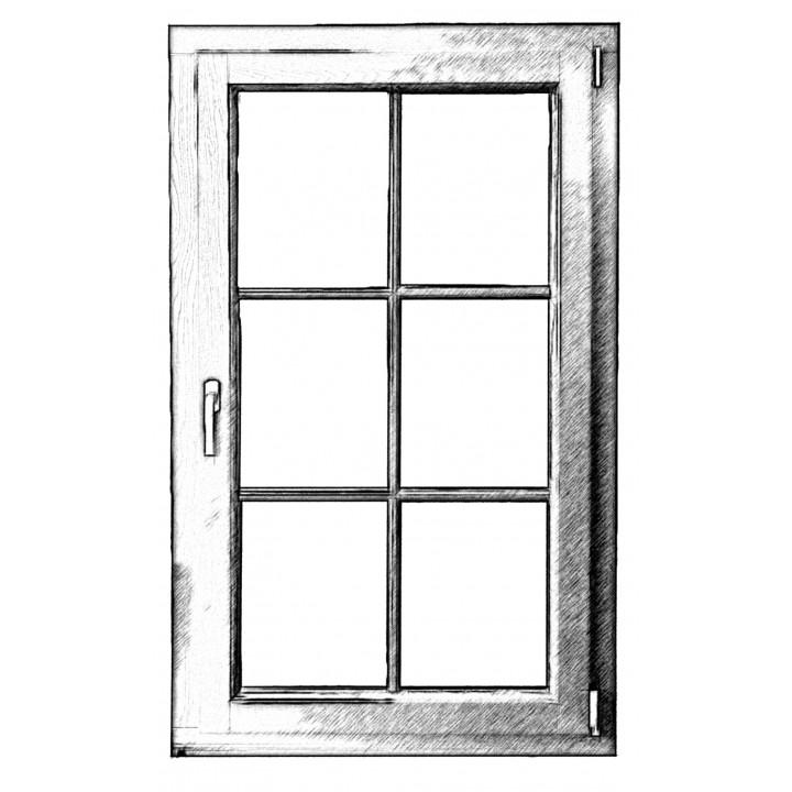 Вікно одностворчате відкривне 88 серія, сосна, 4-16-4-16-4Е (al)